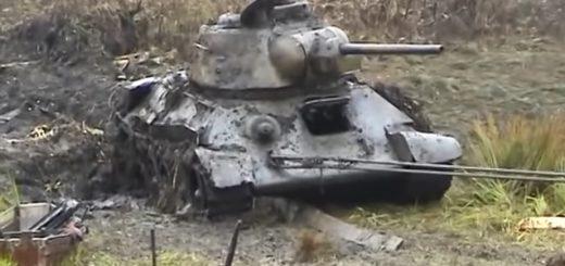 Подъём огнемётного танка ОТ-34/76 коп по войне находки