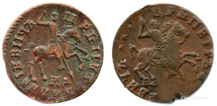 Слева вздыбленный всадник 1714 - 1718 гг , справа отклонившийся всадник 1714 - 1716 гг.
