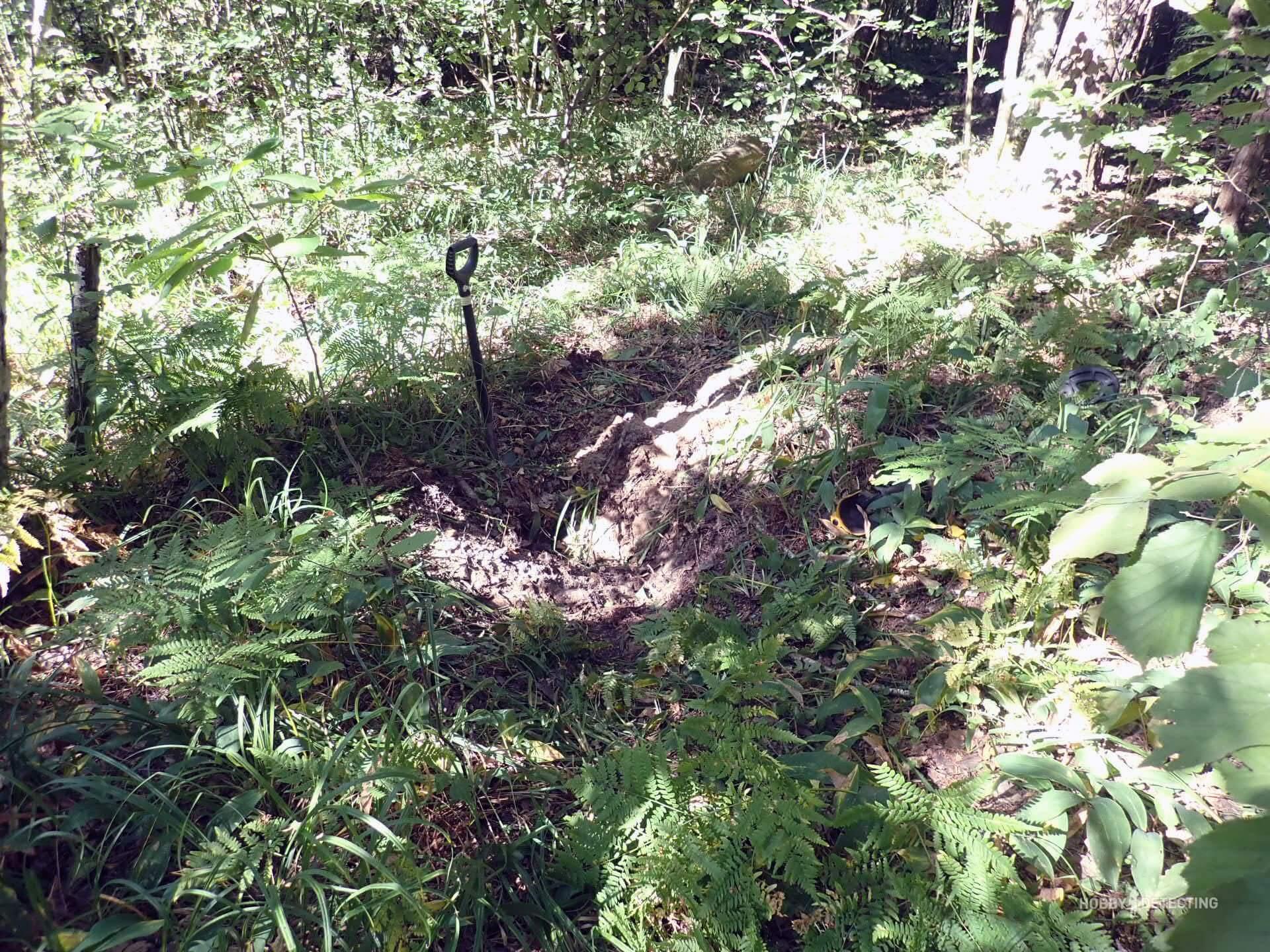 Нашли в лесу место где железо звенит на каждом шагу. День первый